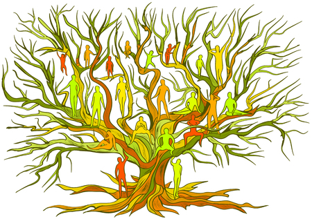 Illustration pour inheritance. concept of family tree isolated on white - image libre de droit