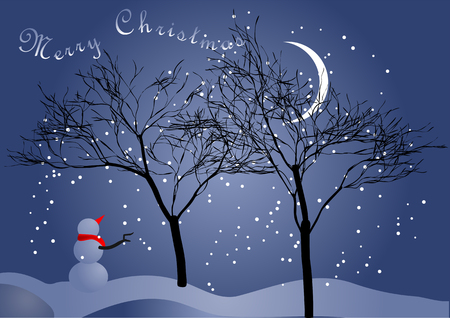winter night sky with a moon and snowman