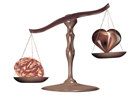 Illustration pour scale with heart and mind, choice between heart and mind. - image libre de droit