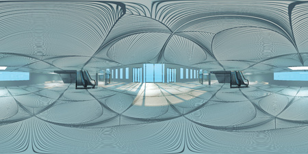 Photo for HDRI map of hall with escalators(3d illustration) - Royalty Free Image