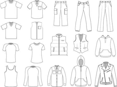 Illustration for Man clothes collection isolated on white  - Royalty Free Image