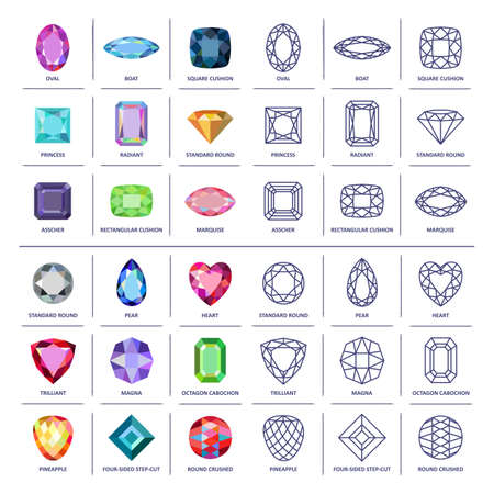 Photo pour Low poly popular colored & blueprint outline jewelry gems cuts infographics isolated on white background, illustration - image libre de droit