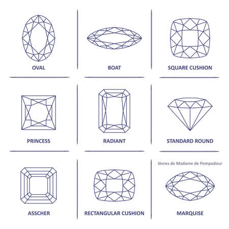 Ilustración de Low poly popular blueprint outline jewelry gems cuts infographics isolated on white background, illustration - Imagen libre de derechos