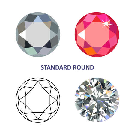 Low poly colored & black outline template standard round gem cut icons isolated on white background, illustration