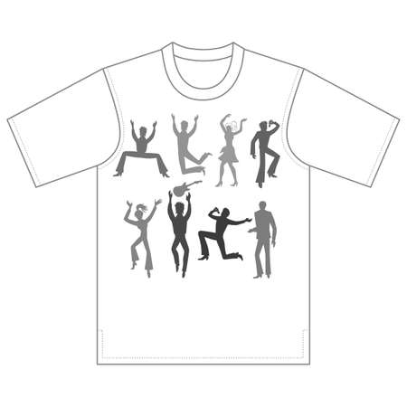 Full length front view grope of grey artists (dancers, singers, musicians), isolated on white background, tshirt design. Vector illustration