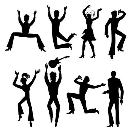 Full length front view grope of artists (dancers, singers, musicians), isolated on white background. Vector illustration.