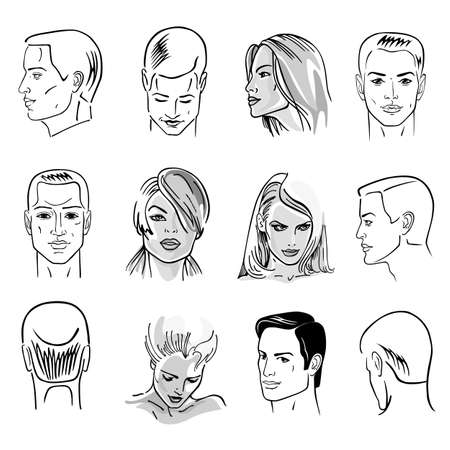Ilustración de Man hairstyle head set of front, side views, vector illustration isolated on white background - Imagen libre de derechos