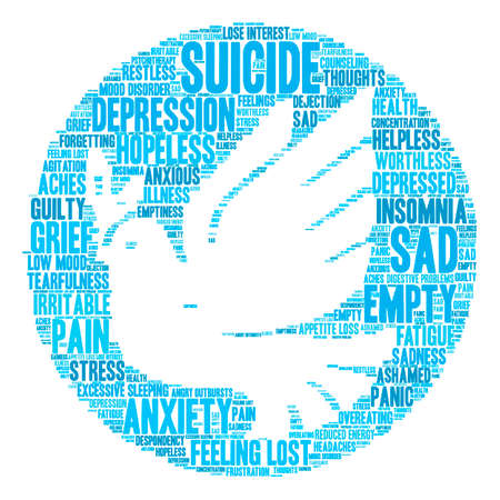 Suicide word cloud on a white background : Royalty-free