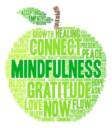 Ilustración de Mindfulness word cloud on a white background. - Imagen libre de derechos