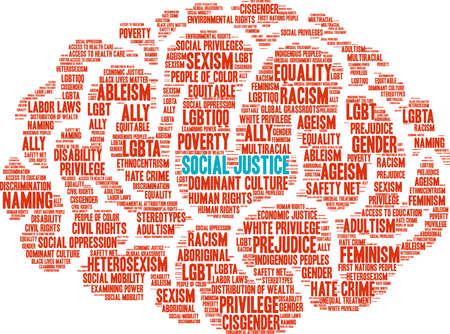 Illustration pour Social Justice word cloud. - image libre de droit