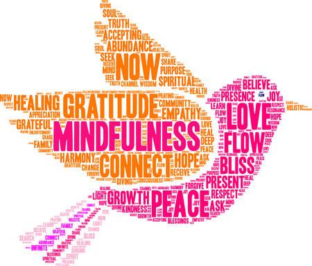 Vektor für Mindfulness word cloud on a white background. - Lizenzfreies Bild