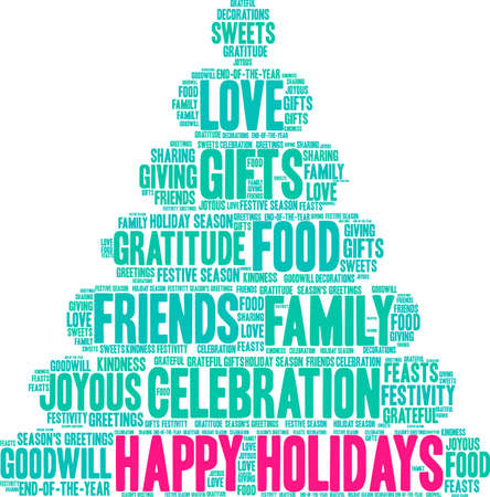 Illustration for Happy Holidays word cloud on a white background.  - Royalty Free Image