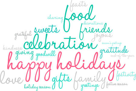 Illustration for Happy Holidays word cloud on a white illustration. - Royalty Free Image