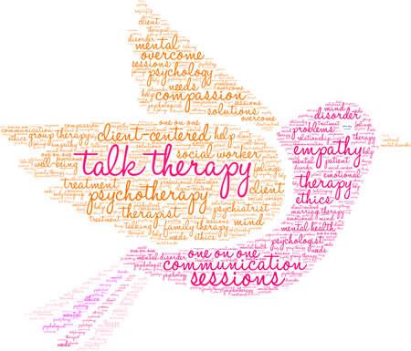 Ilustración de Talk Therapy word cloud on a white background.  - Imagen libre de derechos