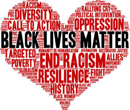 Ilustración de Black Lives Matter word cloud on a white background.  - Imagen libre de derechos