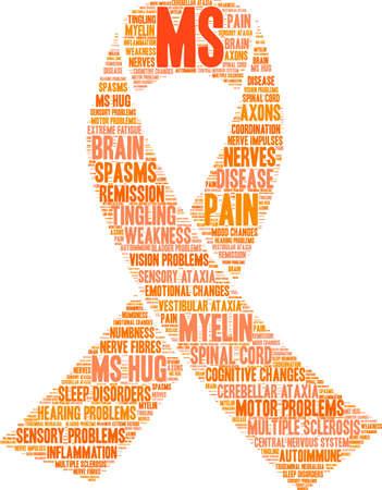 Illustration pour Multiple Sclerosis word cloud ribbon design - image libre de droit