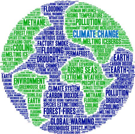Ilustración de Climate Change word cloud on a white background. - Imagen libre de derechos