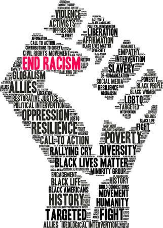 Ilustración de End Racism word cloud on a white background. - Imagen libre de derechos