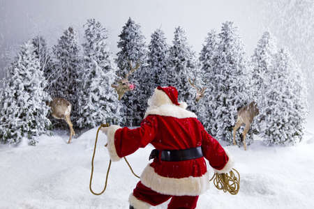 Santa Claus holding rope trying to wrangle his reindeer
