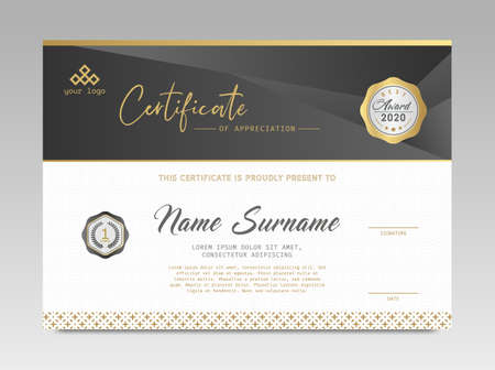 Illustration for Modern Design Certificate. Black and Gold Certificate template awards diploma background vector modern design simple elegant and luxurious elegant. layout horizontal in A4 size - Royalty Free Image