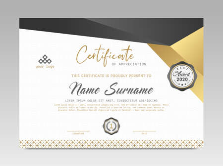 Illustration pour Modern Design Certificate. Black and Gold Certificate template awards diploma background vector modern design simple elegant and luxurious elegant. layout horizontal in A4 size - image libre de droit