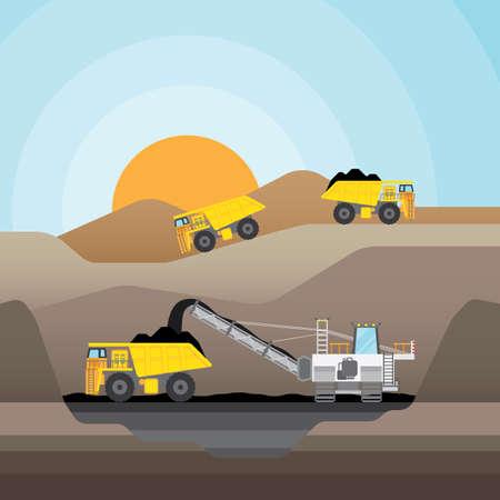 Ilustración de Coal mining at an open pit with coal truck. - Imagen libre de derechos