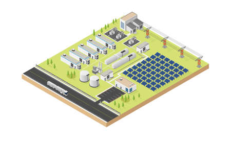 Illustration pour hydrogen microgrid with solar cell in isometric graphic - image libre de droit