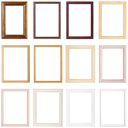 collection of simple wooden picture frames, isolated on whiteの写真素材