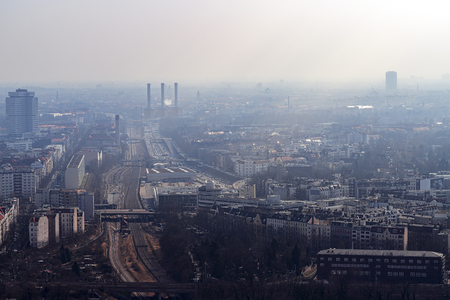 Photo for misty skyline of Berlin with freeway - Royalty Free Image