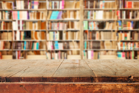 Photo pour Empty wooden table and modern library background, product  montage display - image libre de droit