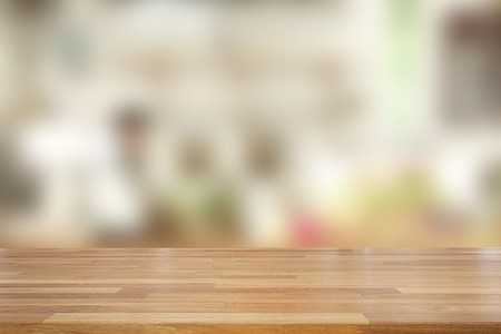 Photo pour Empty wooden and table on abstract blurred background of coffee shop with shelf and window, product display, Ready for product montage - image libre de droit