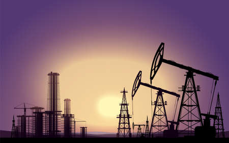 Illustration for Oil rigs. Oil production. Vector - Royalty Free Image