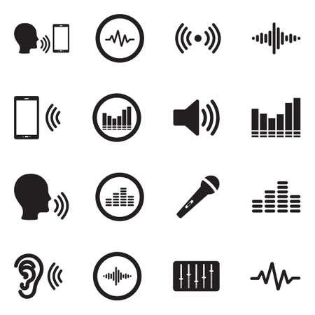 Illustration pour Voiceover Icons. Black Flat Design. Vector Illustration. - image libre de droit