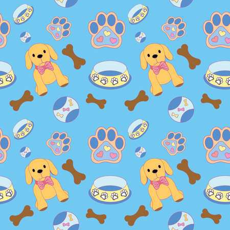 1eaae7841eb5 Cute seamless dog pattern with dog, bone, paw print, ball and bowl ...