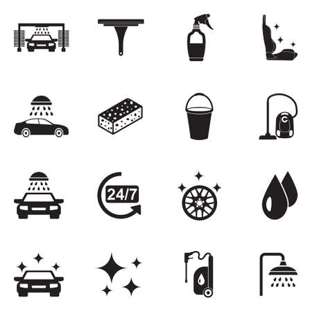 Ilustración de Car Wash Icons. Black Flat Design. Vector Illustration. - Imagen libre de derechos