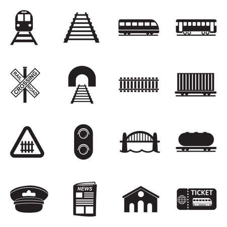 Illustration pour Railroad Icons. Black Flat Design. Vector Illustration. - image libre de droit