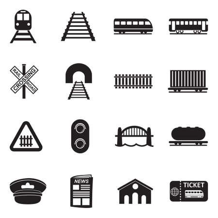 Railroad Icons. Black Flat Design. Vector Illustration.