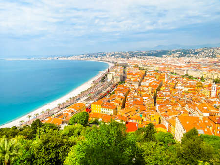 Photo for Aerial view of Nice coastline. Cote d'Azur beachfront, Nice, France - Royalty Free Image