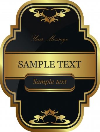Gold-framed label  Vector