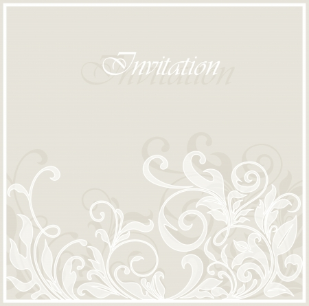 Beautiful invitation vintage card with floral elements