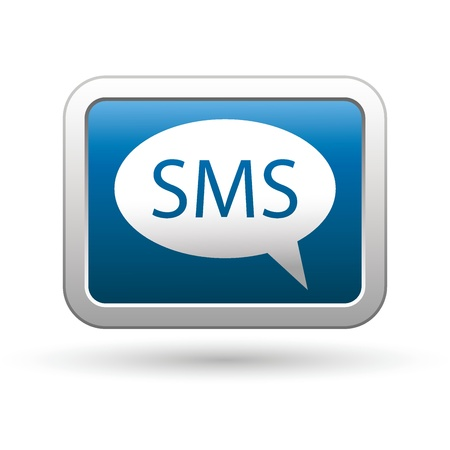 SMS icon on the blue with silver rectangular button  Vector illustration
