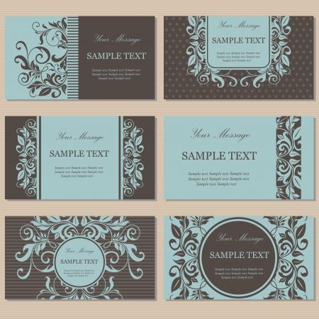 Foto de Set of six floral business cards - Imagen libre de derechos
