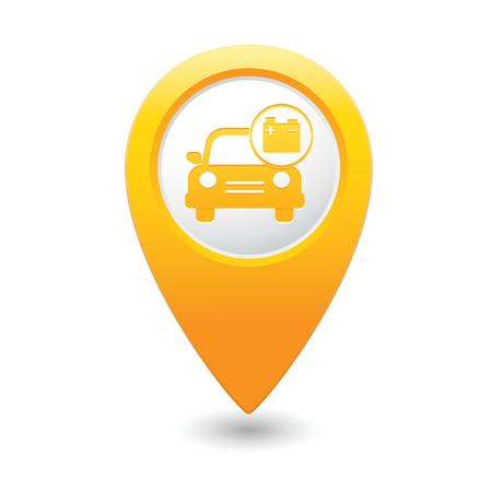 Car service  Car with accumulator icon on yellow map pointer  illustration