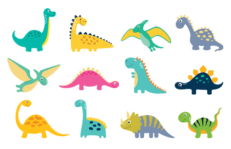Illustration pour Cute dino illustrations set on white background - image libre de droit