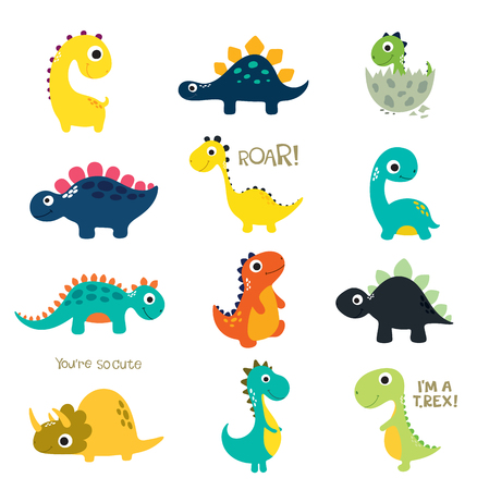 Illustration pour Set of little cute dinos. Vector illustration - image libre de droit