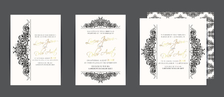 Illustration pour Set of three wedding invitation cards in black and white with vintage floral elements - image libre de droit