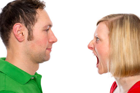 young man scream at so his wife in front of white background