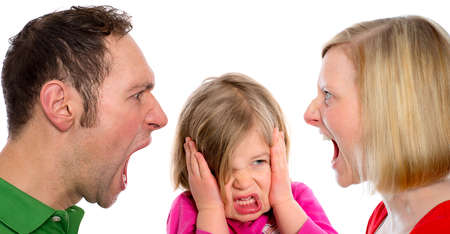 young man and  woman screaming in front of little girl