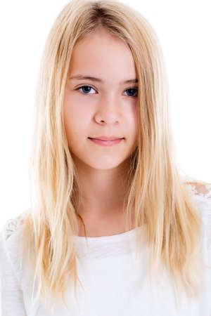 portrait of a nice blond girl in front of white background