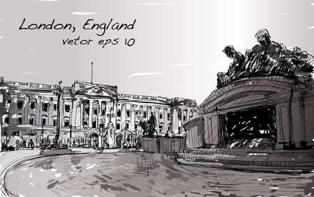 Sketch cityscape of London England, show Buckingham Palace public space, monuments fountain and old building, illustration vector